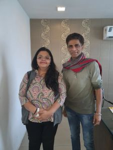 Shailaza Singh, author of best seller Faith-The Mystery of the Missing Girl with well-known theater artist Makrand Deshpande